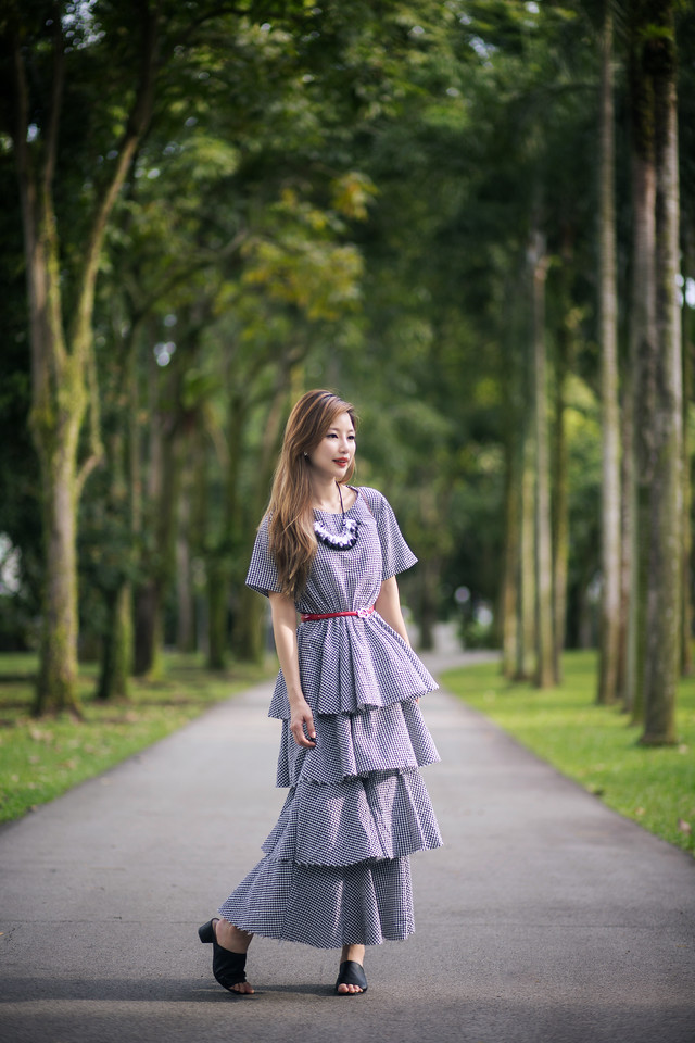 Gingham dress with red bag