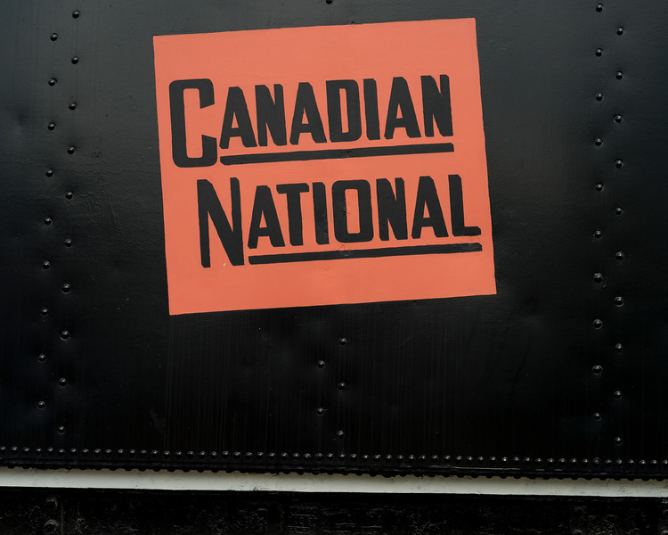 Close-up of sign on steam train engine, Jasper National Park, Jasper, Alberta, Canada