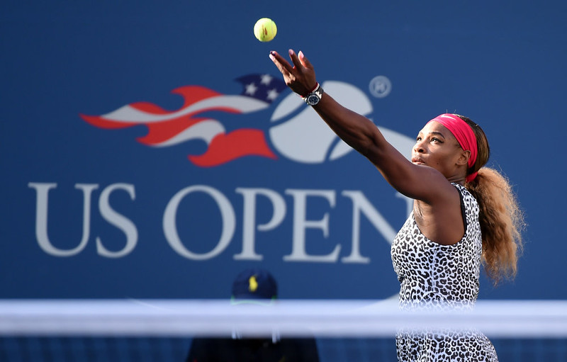 . Serena Williams of the US serves to Caroline Wozniacki of Denmark during their US Open 2014 women\'s singles finals match at the USTA Billie Jean King National Center September 7, 2014  in New York. STAN HONDA/AFP/Getty Images