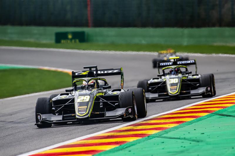 #29 Teppei Natori, Carlin Motorsport and #30 Felipe Drugovich, Carlin Motorsport, Belgium, 2019