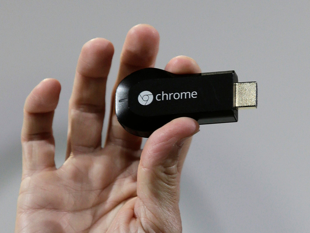 . A new Chromecast device is introduced by Google at Dogpatch Studios in San Francisco, Calif. on Wednesday, July 24, 2013. The device allows phones and tablets to send content to televisions. (Gary Reyes/Bay Area News Group)