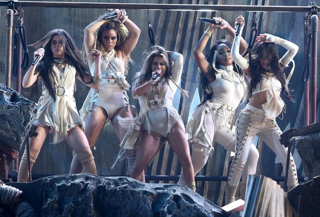 ". Lauren Jauregui, Dinah Jane, Ally Brooke, Camila Cabello, and Normani Kordei of Fifth Harmony, perform ""That\'s My Girl\"" at the American Music Awards at the Microsoft Theater on Sunday, Nov. 20, 2016, in Los Angeles. (Photo by Matt Sayles/Invision/AP)"