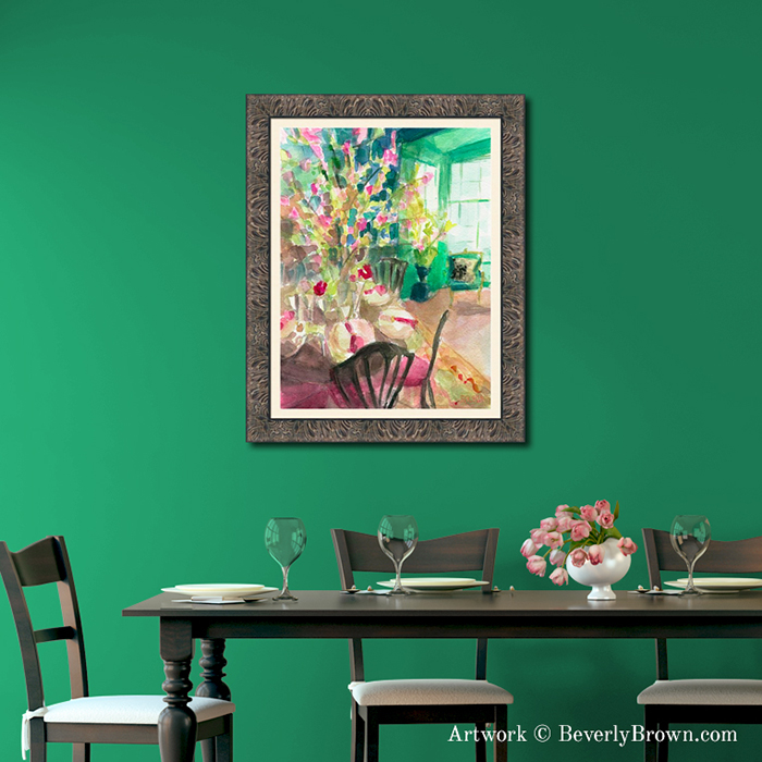 Wall art for a green dining room featuring Cherry Blossom Interior framed print by Beverly Brown. Canvas & framed wall art for sale at www.beverlybrown.com