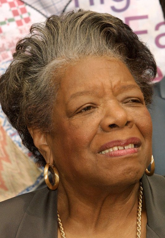 ". Dr. Maya Angelou attends an exhibit entitled ""Finding Our Families, Finding Ourselves\"" at the Museum of Tolerance on February 10, 2003 in Los Angeles, California.  (Photo by Frederick M. Brown/Getty Images)"