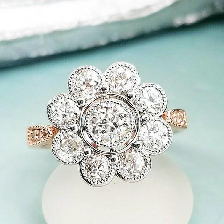 1.75ctw (est) Old European Cut Diamond Daisy Ring