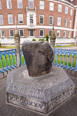 Coronation Stone by Guildhall, Kingstone upon Thames, Surrey, United Kingdom