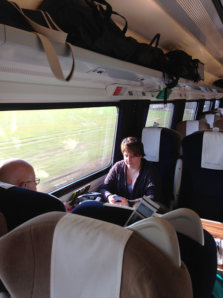 First class on the train to Scotland.  It was fabulous!