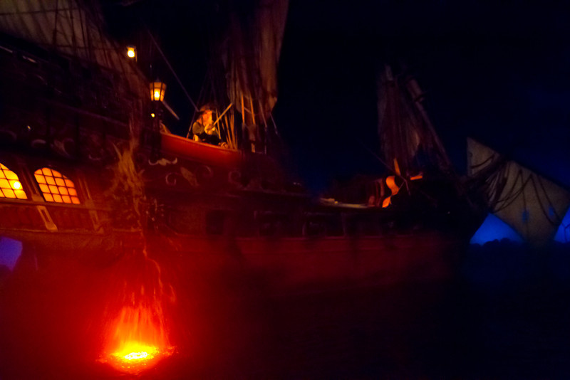 Captian Barbossa's & His Ship Inside Pirates Of The Carribean Ride @ Disneyland