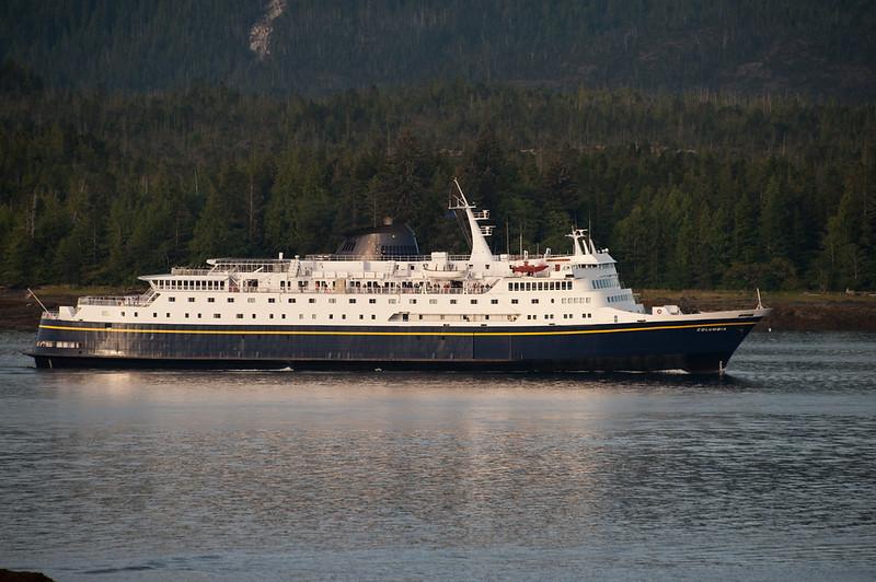 An Alaska ferry arrives through a different channel.