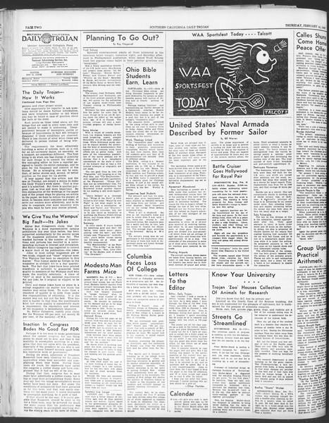 Daily Trojan, Vol. 30, No. 80, February 16, 1939