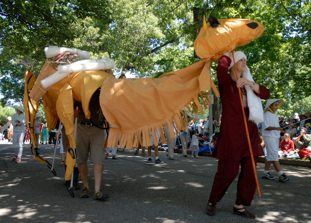 . Jeff Forman/JForman@News-Herald.com Lourdes Sanchez, of the Museum of Natural History, leads a camel in the  Cleveland Museum of Art 25th annual Parade the Circle June 14 in University Circle.
