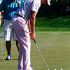 Ian Poulter the event winner practices putts