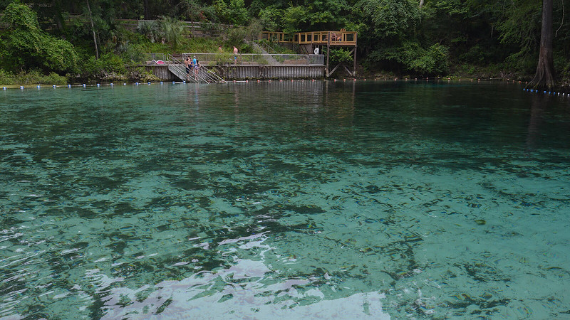 Turquoise water with ramp and stairs into it
