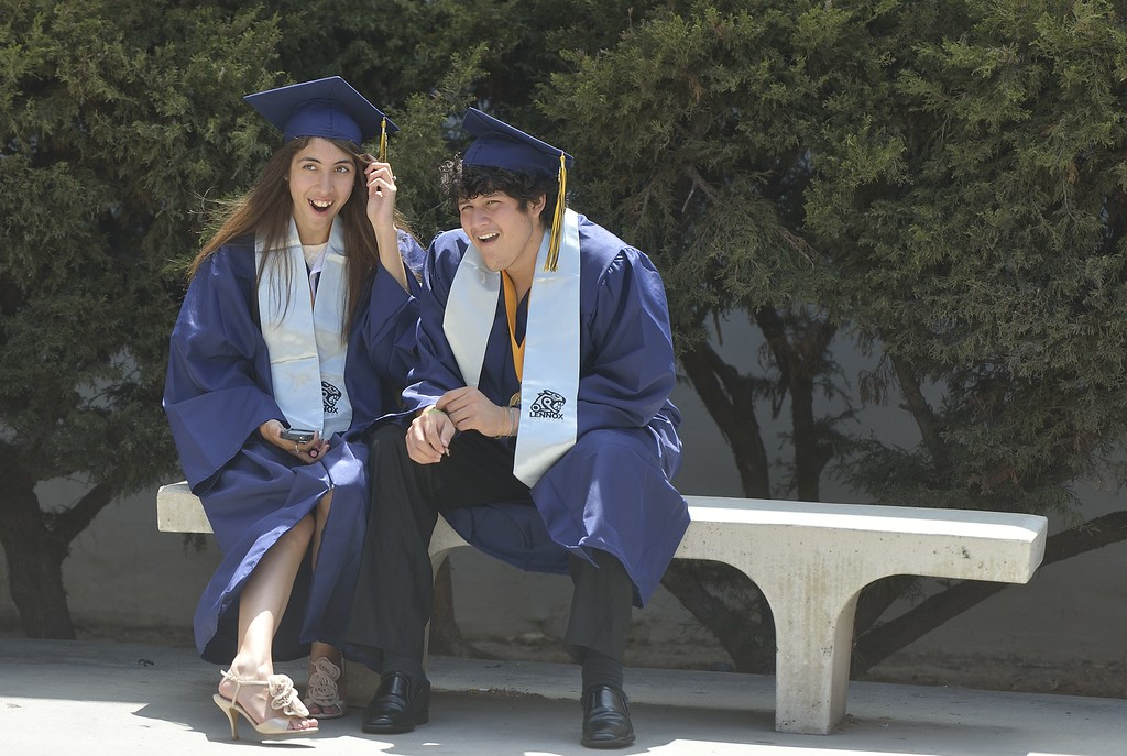 . TORRANCE, CALIF. USA -- Natalie Garcia and Gabriel Torres before commencement ceremonies for Lennox Math, Science & Technology Academy at El Camino College in Torrance, Calif., on June 8, 2013.   Photo by Jeff Gritchen / Los Angeles Newspaper Group