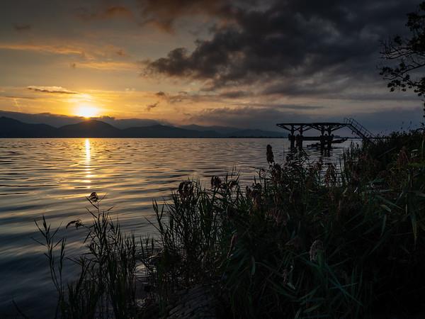 L'alba sul Lago di Massaciuccoli