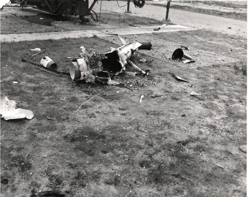 Missile debris in front of launcher Nr 2.  22 May 1958.
