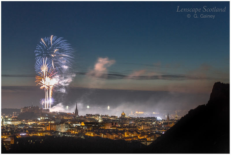 Fireworks over Edinburgh Castle from Holyrood Park (3)