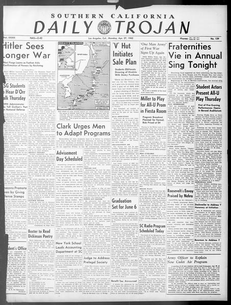 Daily Trojan, Vol. 33, No. 129, April 27, 1942