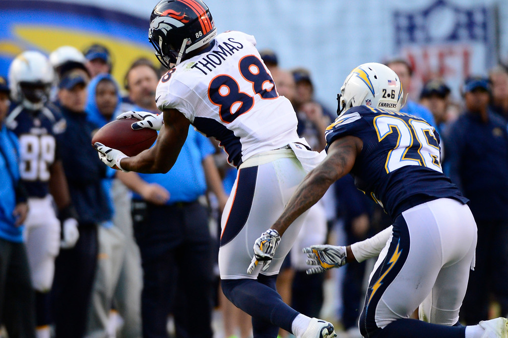 . SAN DIEGO, CA. December 14, - wide receiver Demaryius Thomas #88 of the Denver Broncos makes a catch in the 2nd half vs the San Diego Chargers at Qualcomm Stadium December 14, 2014 San Diego, CA (Photo By Joe Amon/The Denver Post)