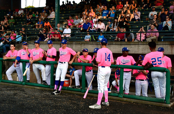 8/2/2018 Mike Orazzi | Staff Bristol Blues at Muzzy Field during Pink Night Thursday evening.