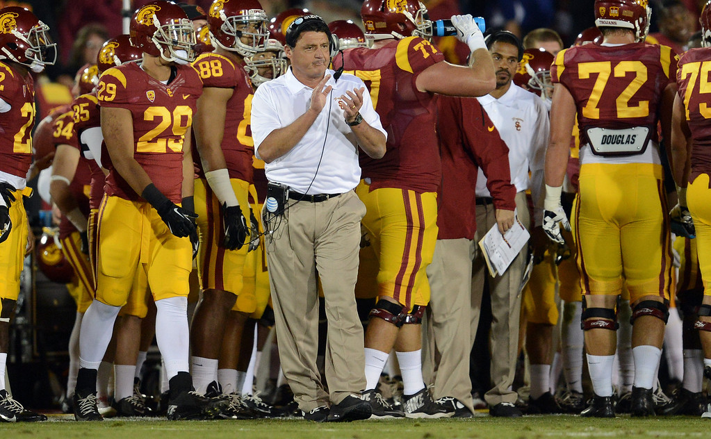 . USC interim coach Ed Orgeron during their game against Arizona at the Los Angeles Memorial Coliseum Thursday, October 10, 2013. (Photo by Hans Gutknecht/Los Angeles Daily News)