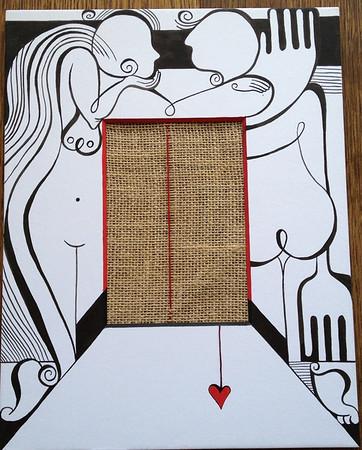 Silk in a mat frame