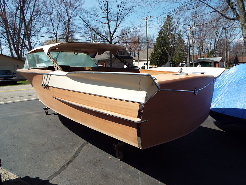 Rear port picture with the new stainless trim installed along with new stainless transom band.