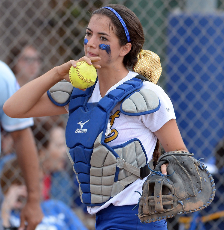 . Bishop Amat catcher Julia Valenzuela in the second inning of a prep playoff softball game against La Serna at Bishop Amat High School in La Puente, Calif., on Thursday, May 22, 2014. La Serna won 6-0.   (Keith Birmingham/Pasadena Star-News)