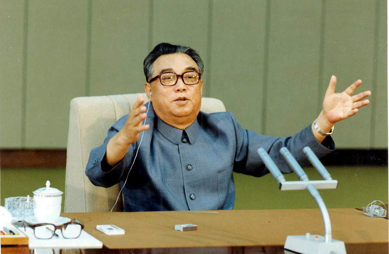 . In this undated photo from North Korea\'s official Korean Central News Agency, distributed by Korea News Service, Kim Il Sung makes a speech. (Korean Central News Agency/Korea News Service via AP Images)