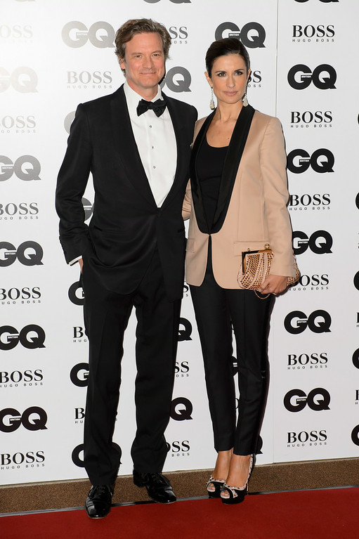 . British actor Colin Firth, left, and his wife Livia Firth arrive for the GQ Men Of The Year Awards 2014 at a central London venue, London, Tuesday, Sept. 2, 2014. (Photo by Jonathan Short/Invision/AP)