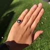 1.19ct Vintage Emerald Cut Diamond Onyx Ring, GIA E VS2 3