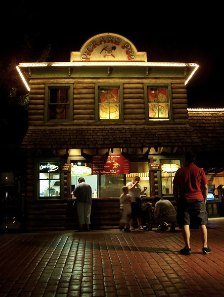 Pick Axe Pub at night.
