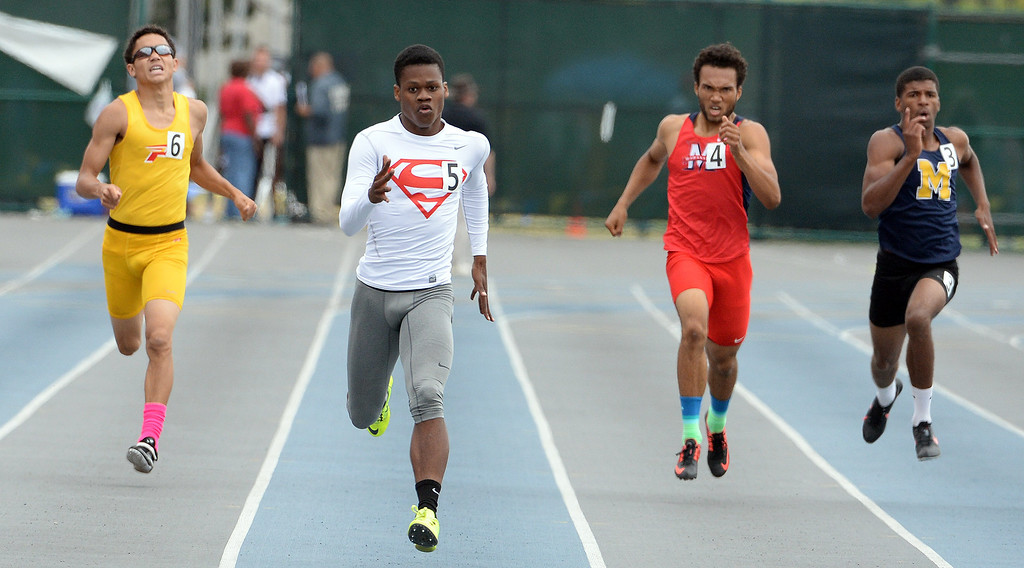 . Serra\'s Ronny Hall wins the division 4 400 meters race during the CIF Southern Section track and final Championships at Cerritos College in Norwalk, Calif., Saturday, May 24, 2014.   (Keith Birmingham/Pasadena Star-News)