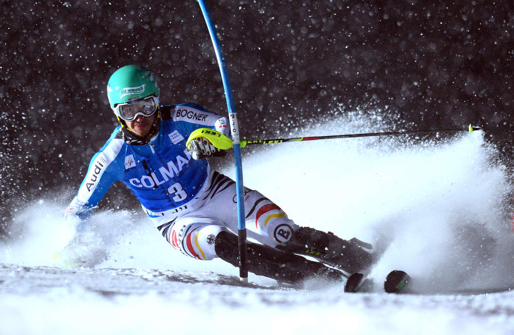 Description of . Felix Neureuther of Germany a gate in his second run at the FIS Alpine World Cup Men's Slalom on December 8, 2012 in Val d'Isere, French Alps.   AFP PHOTO / FRANCK  FIFE/AFP/Getty Images