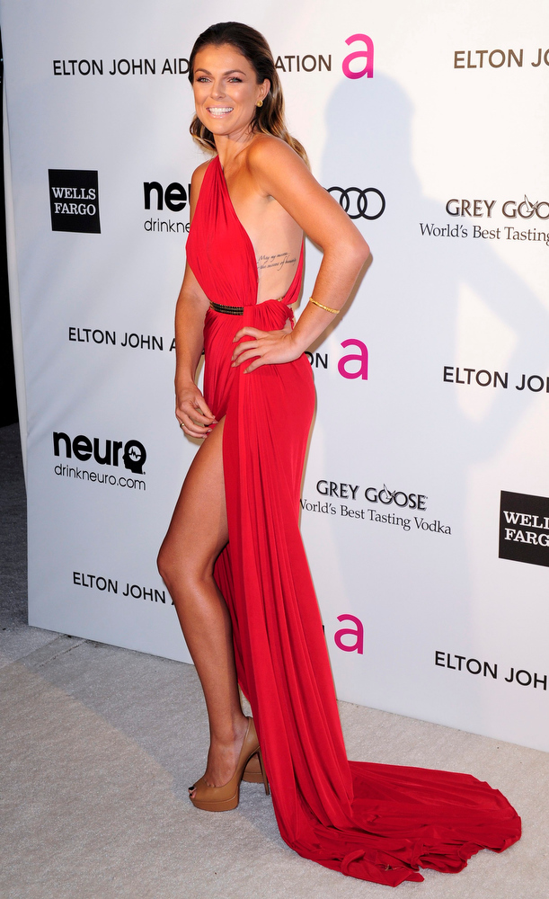 Description of . Actress Serinda Swan arrives at the 2013 Elton John AIDS Foundation Oscar Party in West Hollywood, California, February 24, 2013.  REUTERS/Gus Ruelas