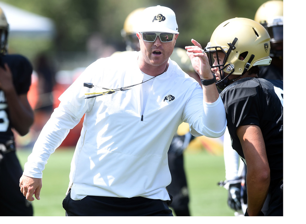 . Offensive coordinator, Darrin Chiaverini at practice during CU football and Fall sports media day. For more photos, go to dailycamera.com. Cliff Grassmick  Staff Photographer  August 4, 2018