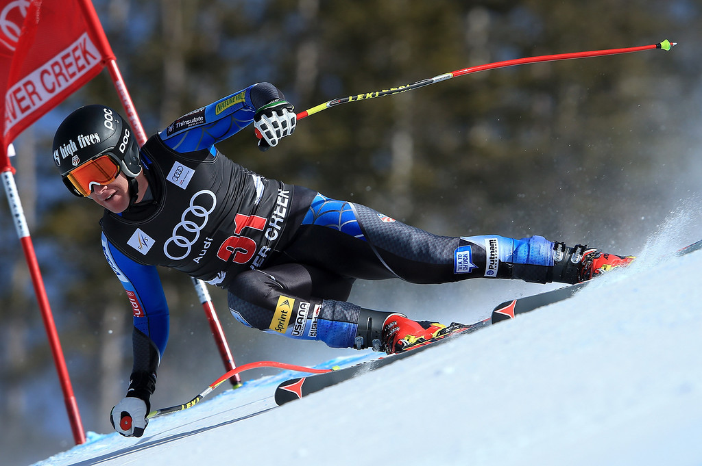 . Marco Sullivan of the USA skis to 18th place in the men\'s downhill on the Birds of Prey at the Audi FIS World Cup on November 30, 2012 in Beaver Creek, Colorado.  (Photo by Doug Pensinger/Getty Images)