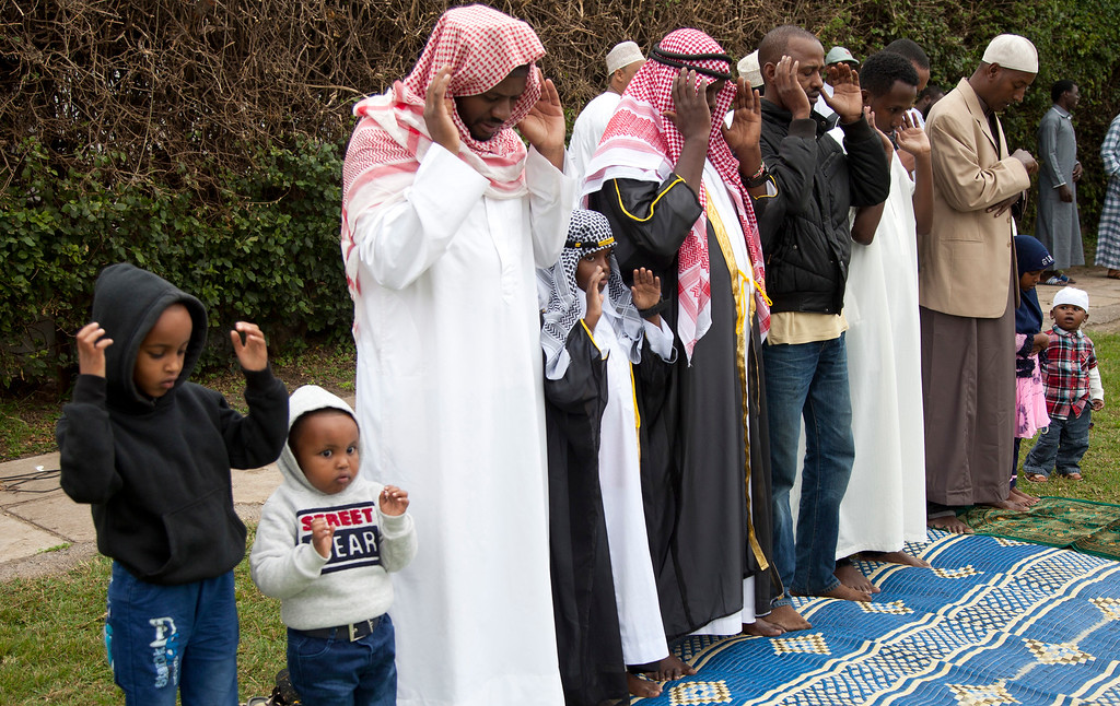 . Kenyan Muslims pray during the Eid al-Fitr prayers in Nairobi, Kenya, Friday, June 15, 2018. Muslims around the world celebrate the end of the holy month of Ramadan. (AP Photo/Sayyid Abdul Azim)
