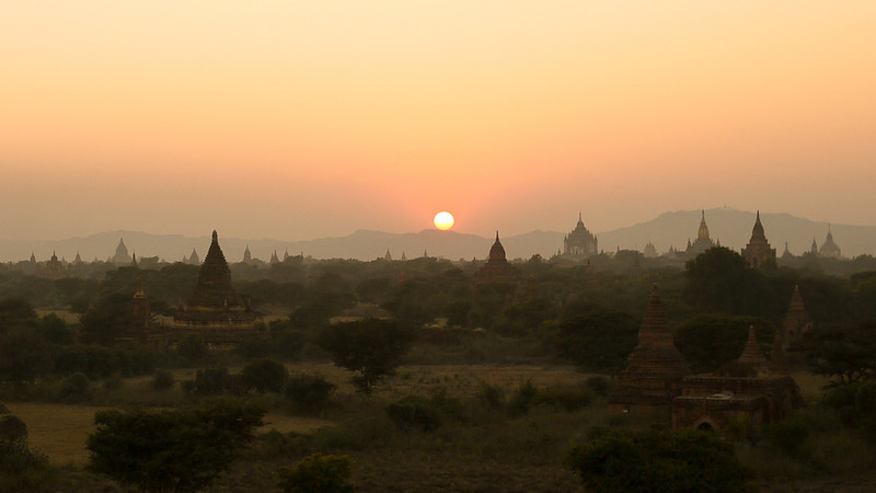 Temples at sunset in Bagan, Burma (Myanmar)