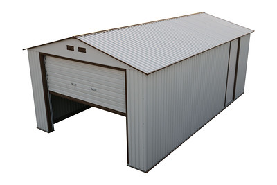 Imperial Metal Garage Off White Brown 12x20