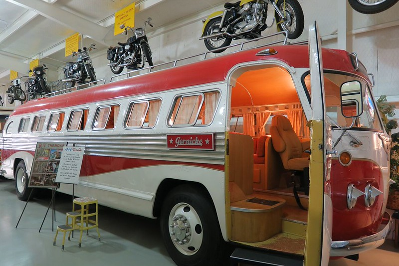 Red and white classic RV