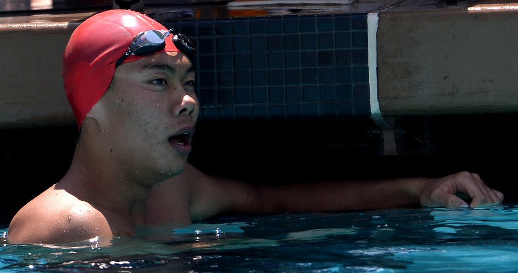 . Mark Keppel\'s Justin Chiu after the 100 yard butterfly during the Division 2 CIF Southern Section Swimming Championships in the Riverside Aquatics Complex at Riverside City College in Riverside, Calif., on Saturday, May 17, 2014.  (Keith Birmingham/Pasadena Star-News)