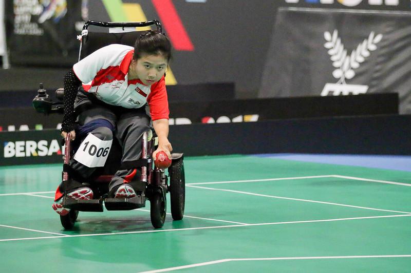 PARA BOCCIA -  TAN YEE TING JERALYN in action & representing Singapore in Mixed Individual BC1  at MITEC Hall 6, KL on September 22th, 2017 (Photo by Sanketa Anand)