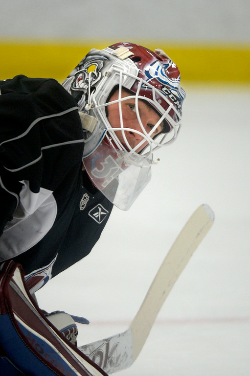 . Colorado Avalanche G J.S. Giguere (35) looks to the side  during practice September 9, 2013 at Family Sports. (Photo By John Leyba/The Denver Post)