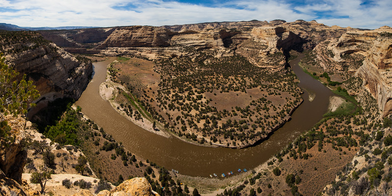 The Yampa River in Dinosaur National Monument. This is a 3 shot panorama in a 1:2 format taken from an overlook called Wagonwheel, 800 feet above our campsite.