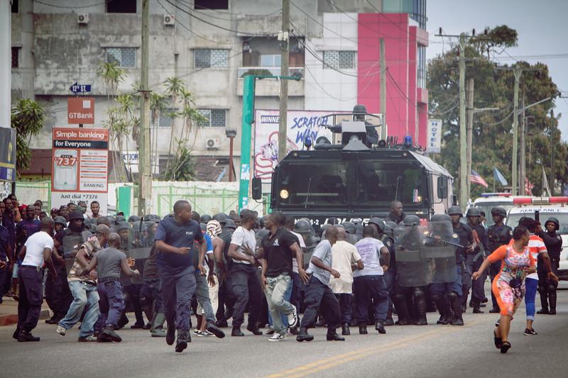 Monrovia Liberia October 9, 2017 - Police rehearse crowd control measures prior to the 2017 presidential election.