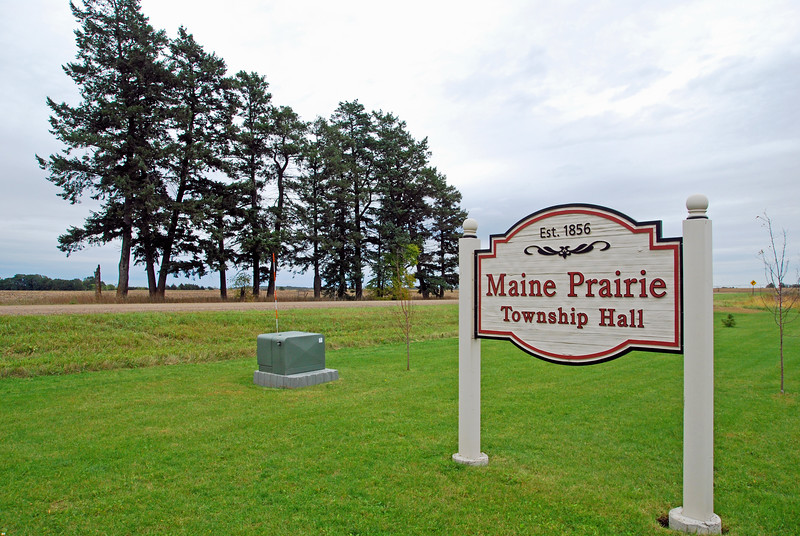 Maine Prairie Township Hall sign