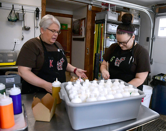 3/7/2020 Mike Orazzi | StaffrKaren Perry and Addie Padua while making soap at Bradley Mountain Farm in Southington on Saturday.