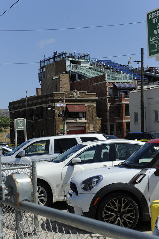 . The rooftops outside of Wrigley Field prior to action in a baseball game between the Chicago Cubs and the Los Angeles Dodgers Sunday Aug. 4, 2013 in Chicago, Ill. (AP photo/Joe Raymond