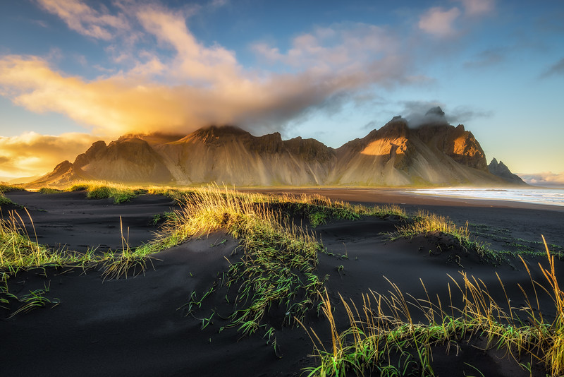 Sunset above Vestrahorn in Iceland